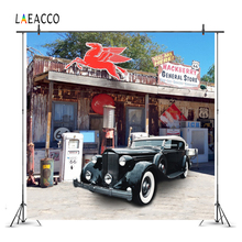 Laeacco U.S. Route 66 Gas Old Car Photography Backgrounds Customized Photographic Backdrops Props For Photo Studio