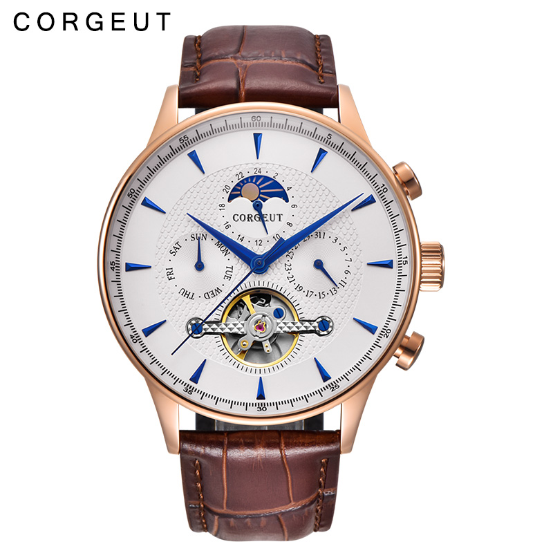44mm Corgeut Automatic Mechanical Watch Fashion Business Watch Men's Waterproof Calendar Mechanical Watch цена и фото