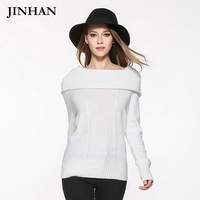 JINHAN 2017 Sexy Slash Neck Womens Knitwear Jumpers S M L Rose Army Green Sweater Tops