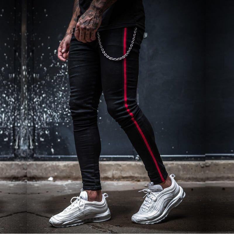 Mens Side Stripe Skinny Fit Black Denim Jeans Hip Hop Streetwear Solid Color Plus Size Slim Fit Lightweight Cotton Jeans for Men
