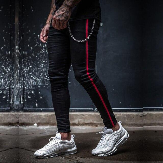 Mens Side Stripe Skinny Fit Black Denim Jeans Hip Hop Streetwear Solid Color Plus Size Slim Fit Lightweight Cotton Jeans for Men 1