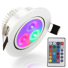1X LED Ceiling Light RGB Red Blue Green Spot Light AC85-265V Recessed Ceiling Lamp Decoration Lighting