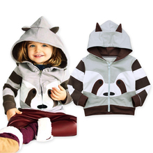 Brand Fall Winter For Children Boy Girls Soft Cotton Hooded Jacket Outerwear Coat Clothing with Cartoon Raccoon Ears