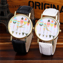 Vansvar Watch Candy Color Feather pattern Male And Female Strap Wrist Watch Stylish Unique Design Simple Style Watch M24