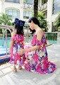 Nuevo 2016 Madre e Hija Vestido con Cinturón Maxi Largo Del Verano estilo de Vacaciones Vestidos de Playa de la Familia Vestido de Gasa Niñas y Mujeres se Visten