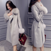 Autumn Winter Women Jackets and Coats Women Wool Coat Pockets Wool Blend Sashes Removable Fur Collar Women Coats