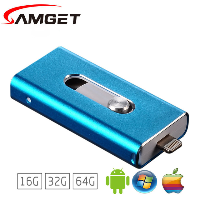 Samget Pendrive Micro USB 2.0 Flash Drive 8G/16G/32G/64G For iPhone 5/6/7/puls/ipad/ipod/PC/MAC/Android Pen drive Free shopping