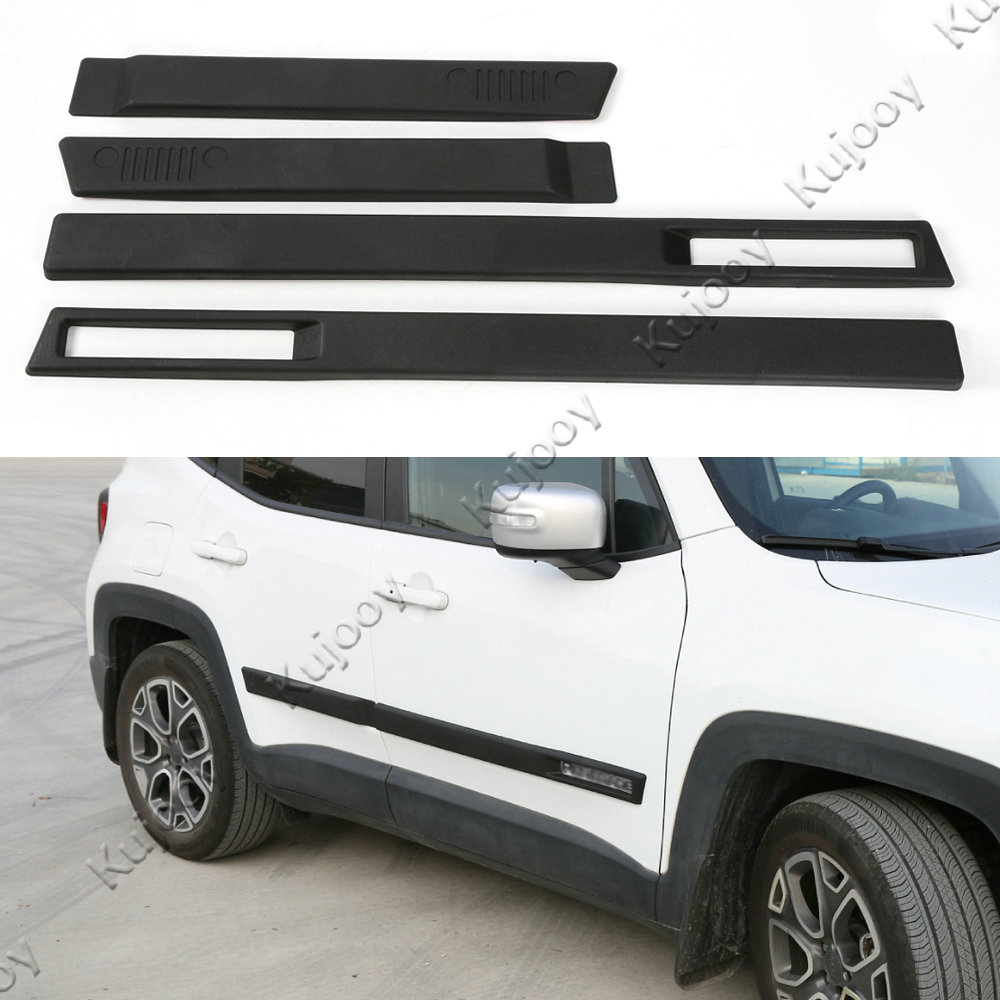 4Pcs Black ABS Car Exterior Door Side Sill Trim Bar Cover Frame Sticker Trim for Jeep Renegade 2015-2016 Car Styling Accessories for jeep renegade 2015 2016 2017 side door body protection molding trim cover abs chrome decoration car styling accessories