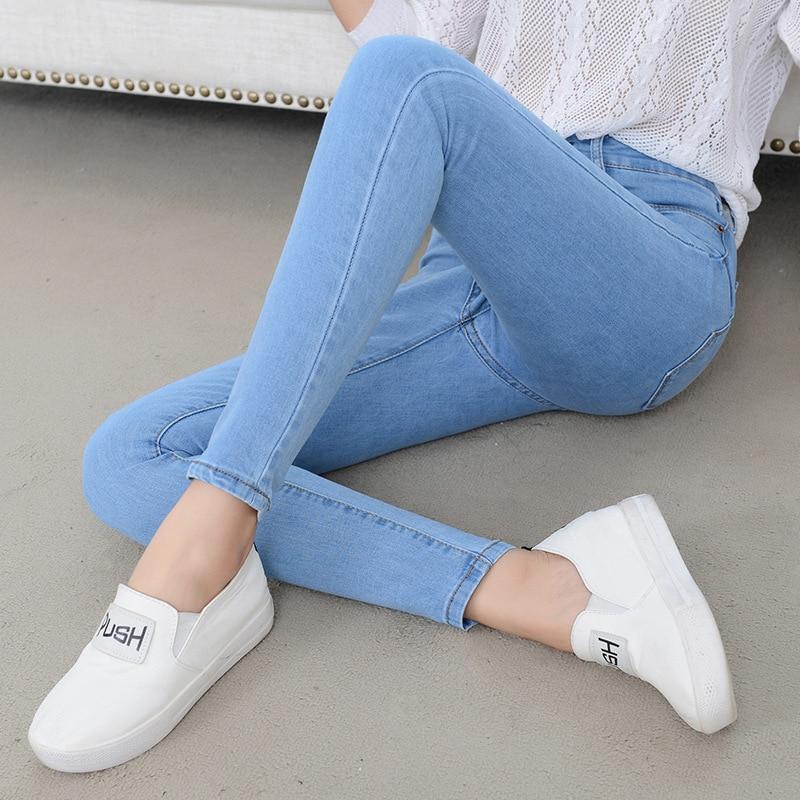 Denim Jeans Womens High Waist Stretch Pencil Skinny Ankle-length Pants Femme Black Blue Push Up 2019 Elastic Slim Streetwear0001