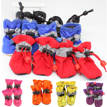 4 unids/set colorido impermeable antideslizante zapatos para mascotas para perros pequeños gatos Chihuahua Yorkie gruesa nieve perro botas calcetines 7 colores