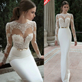 2016 Elegant Sexy Wedding Dresses Satin Bridal & Events Gowns Vestidos De Noiva New Arrival Long Sleeve Sheer Lace Mermaid Gown