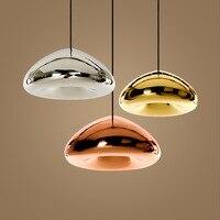KINLAMS Modern Gold Bronze Sliver Shade Mirror Pendant Light E27 LED Glass Pendant Lamp Modern Christmas