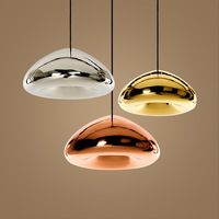 KINLAMS Modern Gold Bronze Sliver Shade Mirror Pendant Light E27 LED Glass Pendant Lamp Modern Christmas