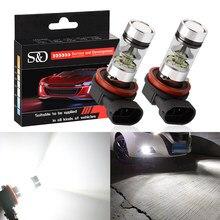 Ampoules antibrouillard pour voiture H11 H8 HB3 HB4 9005, feux de jour, lampe de conduite automobile DRL, blanche, 12V 24V 9006 K, 2 pièces