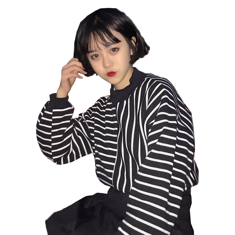 Harajuku 2018 Autumn Winter Loose Korean Style Women Hoodies New Womens Harajuku Stripe Long Sleeve Pullovers Sweatshirts