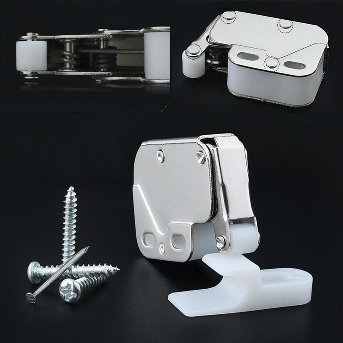 Anti-Theft Cupboard Doors Lock Furniture Hardware Mini Push Spring Clip Lock Catch Latch Cabinets With Cross Keys