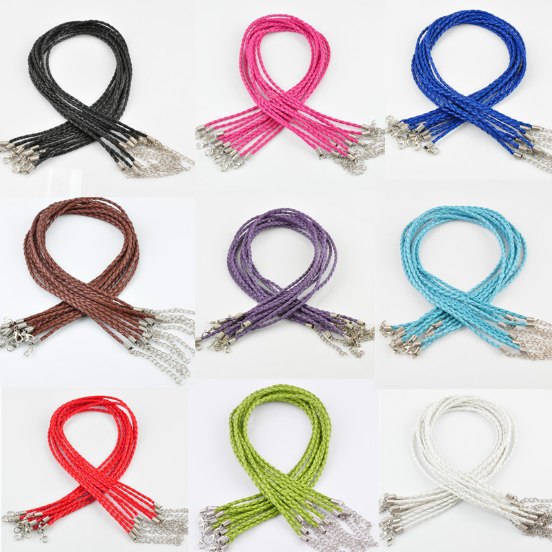 lnrrabc-sale-10-pcs-lot-pu-leather-adjustable-braided-rope-braceletsnecklace-charms-findings-lobster