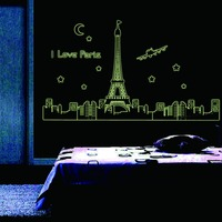 I Love Paris Night Eiffel Tower Wall Stickers For Bedroom Decoration Luminous Stickers Wall Decals Living