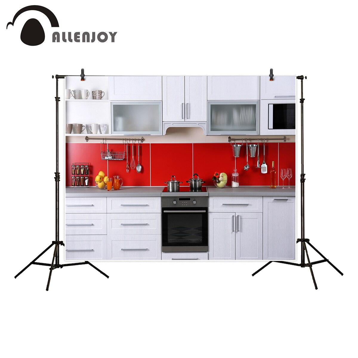 Modern Kitchen Red: Allenjoy Backdrop For Photography Studio Modern Kitchen