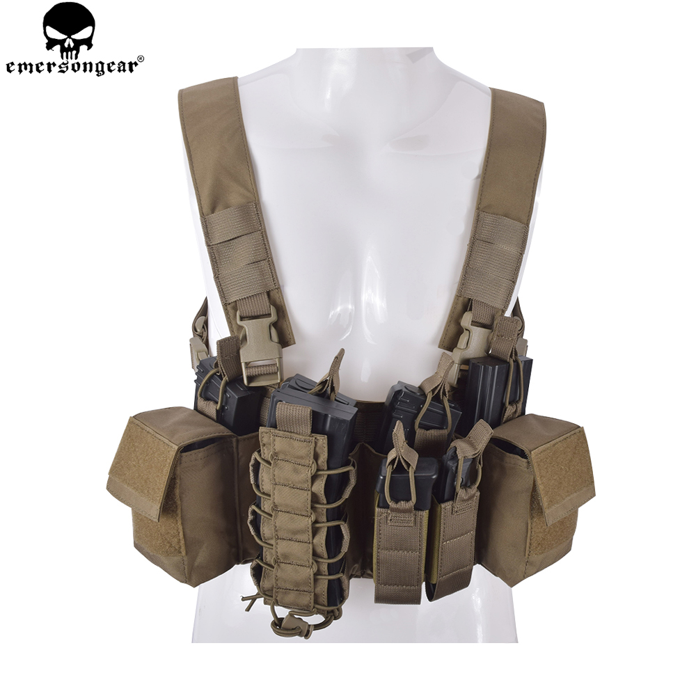 EMERSONGEAR D3CR Tactical Chest Rig Airsoft Hunting Vest Molle Pouch Simple Tactical Vest Multicam Black WG EM7442 emersongear lbt2649b hydration carrier for 1961ar molle backpack military tactical bags hunting bag multicam tropic arid black