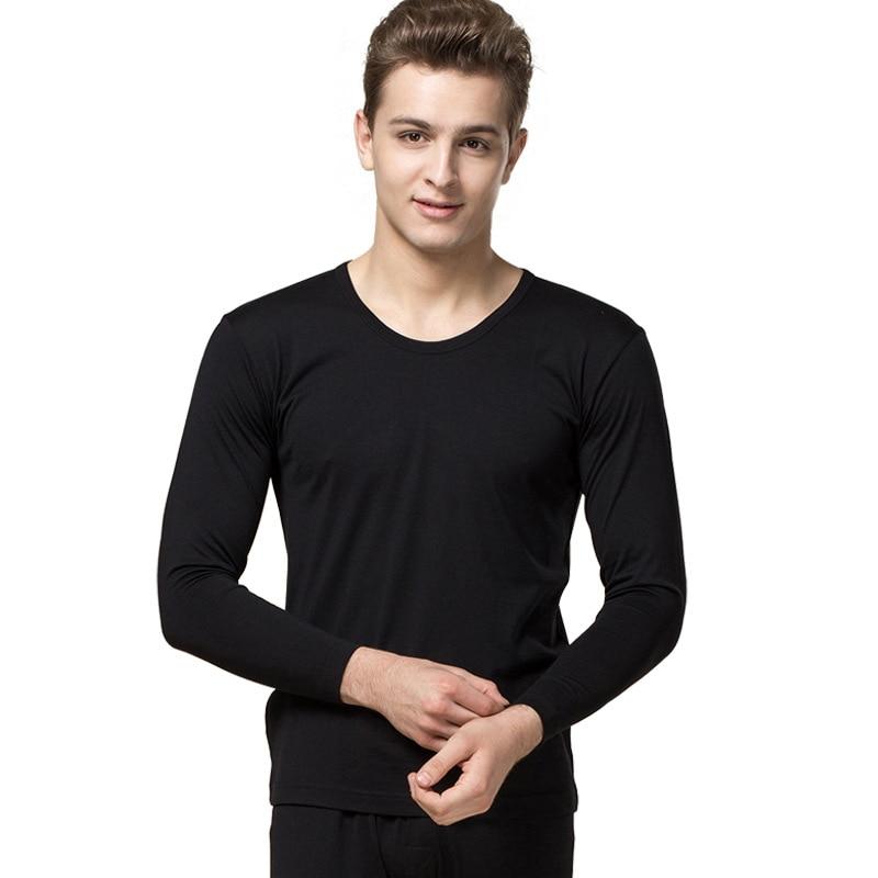 100% seda Otoño e Invierno de alta calidad de seda transpirable sección delgada ropa interior térmica conjunto de Otoño de gran tamaño para hombre ropa Pantalones - 4