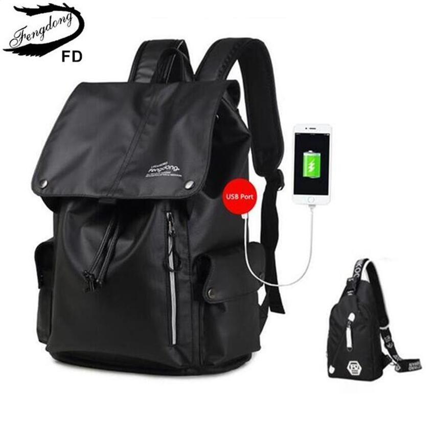 FengDong 2 pcs men travel backpack male chest bag high school backpacks for boys kids back pack bagpack women laptop bag 13 14