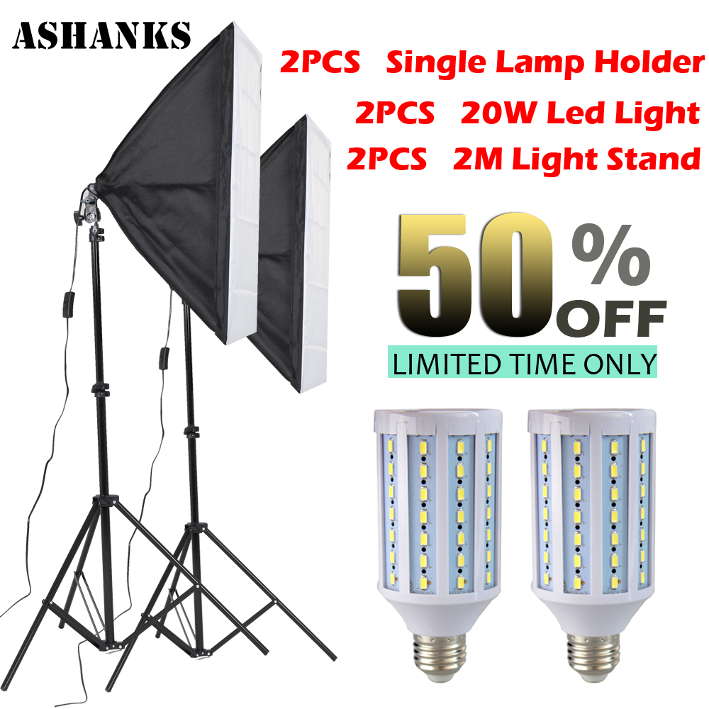 купить 2PCS LED Bulb Photography Lights Flash Kit reflective Material Softbox  2M Light Tripod Stand Single Lamp Holder For E27 Bulbs онлайн
