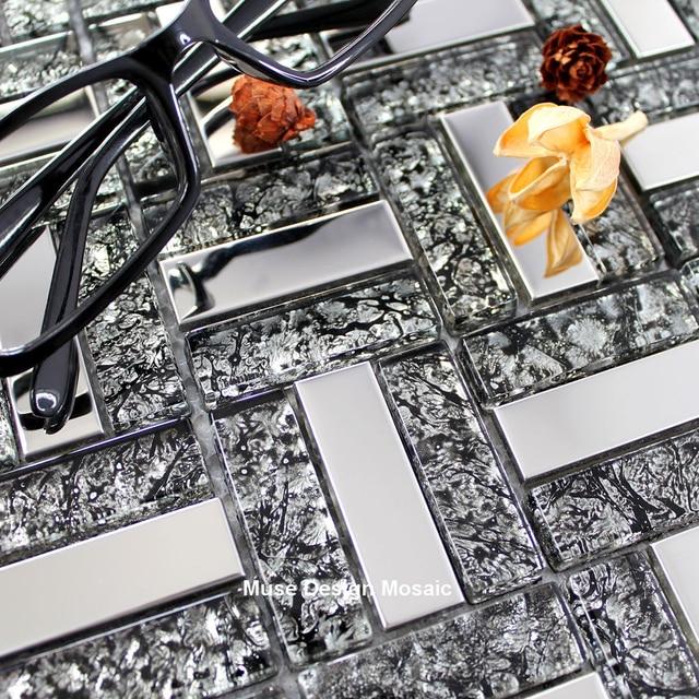 US $219.99  Vintage Silber Metall schwarz Glas mosaik fliesen, puzzle kamin  tapete küche backsplash badezimmer hotel bar wandaufkleber in Vintage ...