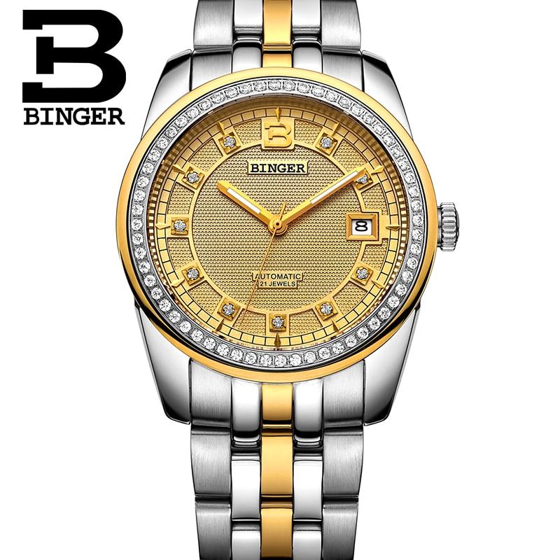BINGER Luxury Mens Watches Gold Rhinestone Case Calendar Stainless Steel Strap Men Skeleton Automatic Mechanical Watches B5010M