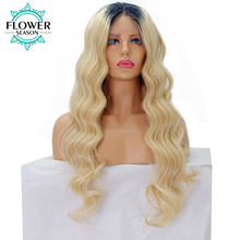 FlowerSeason Wavy Ombre Blonde Brazilian Remy Human Hair Lace Front Wigs for Women T1B/613 Hair Color 12-24 Inches available