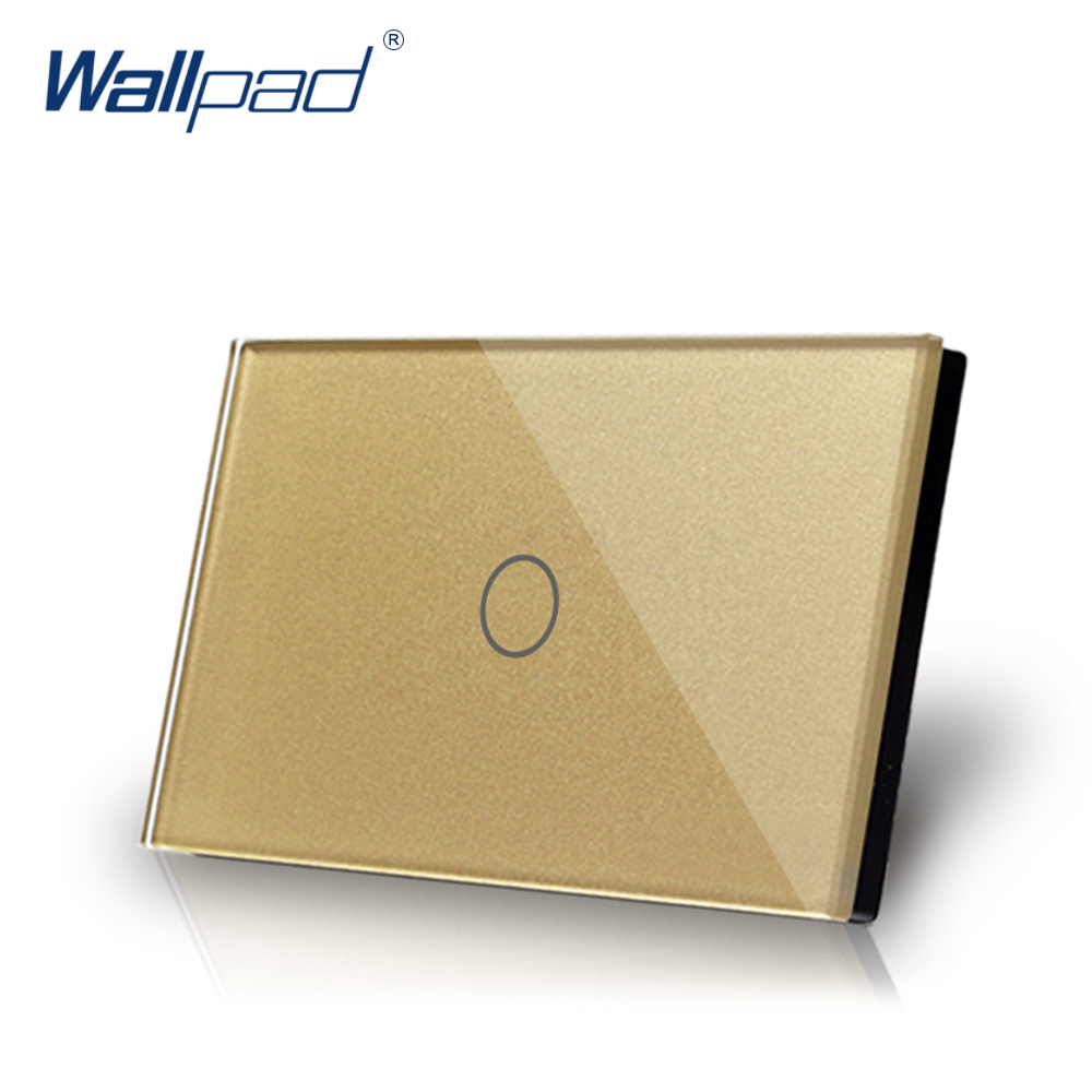 1 Gang 1 Way US/AU Standard Wallpad Touch Switch Touch Screen On/ Off Switches Light Switch Gold Crystal Glass Panel 112*72mm free shipping au us standard smart home glass touch light switches switches 3 gang 1 way