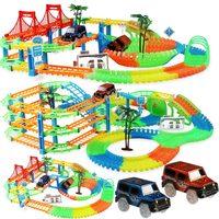 Juego de pista de carreras de ferrocarril para niños, pista de carreras Flexible, educativo, DIY, luz LED Flash electrónica, juguetes de coche