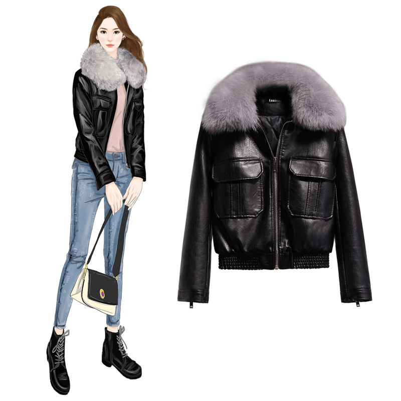 Leather   jacket women's winter real fox fur collar thick warm short paragraph artificial   leather   jacket motorcycle clothing femal