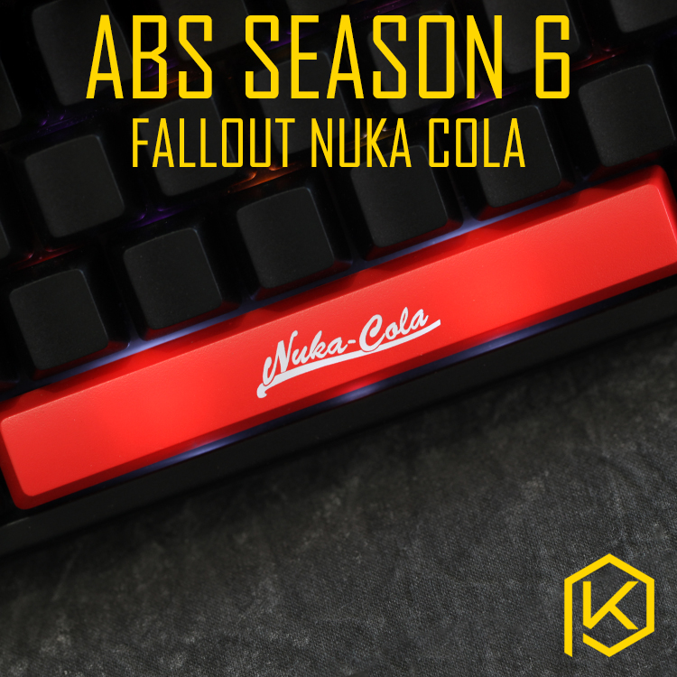 Novelty Shine Through Keycaps ABS Etched, Shine-Through Light Fallout Nuka Cola Black Red Spacebar Custom Mechanical Keyboards