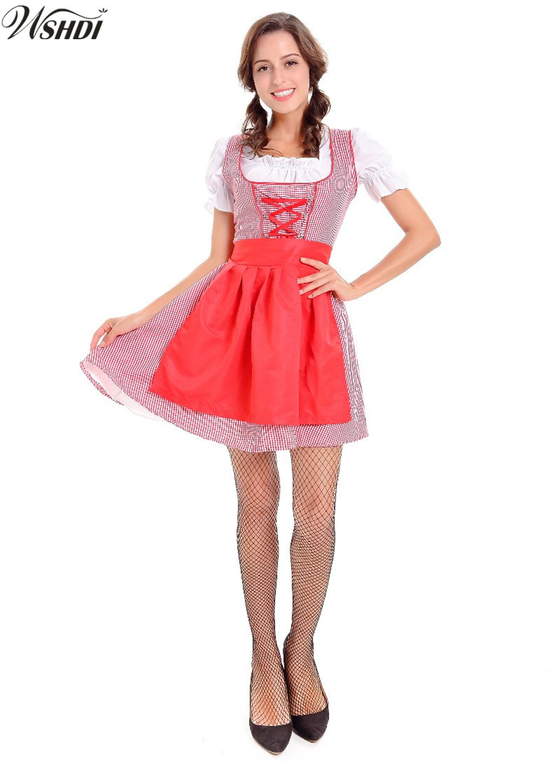 Carnaval Festival October Dirndl Maid Peasant Costume German Wench Uniforms Oktoberfest Beer Girls Party Fancy Dress