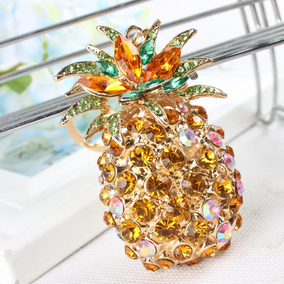 Pineapple Ananas Fruit Lovely Pendant Charm Crystal Rhinestone Purse Bag Car Keyring Key Chain Wedding Party Girl Gift
