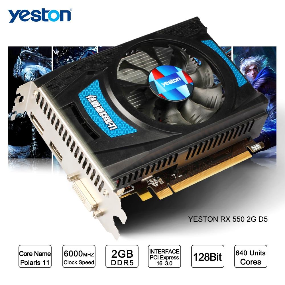 Yeston Radeon RX 550 GPU 2GB GDDR5 128bit Gaming Desktop computer PC Video Graphics Cards support DVI-D/HDMI PCI-E 3.0