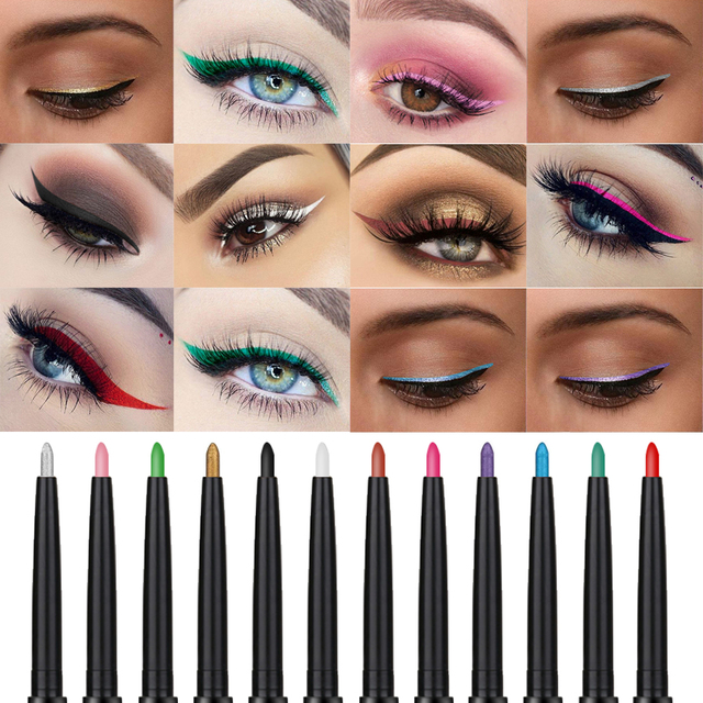 Teayason dual ended eyeliner pencil with sponge 12 color gold glitter eye liner waterproof long lasting matte eyeliner gel AM068 3