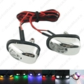 2pcs Car Universal Chrome Hood Windshield Washer Jet Nozzle Spray With LED Light 6 Colors for Choice #J-3962