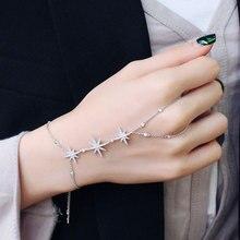 Baguette Bracelet Hand-Back Copper Star Cubic-Zirconia Fashion Women Luxury GODKI Chain
