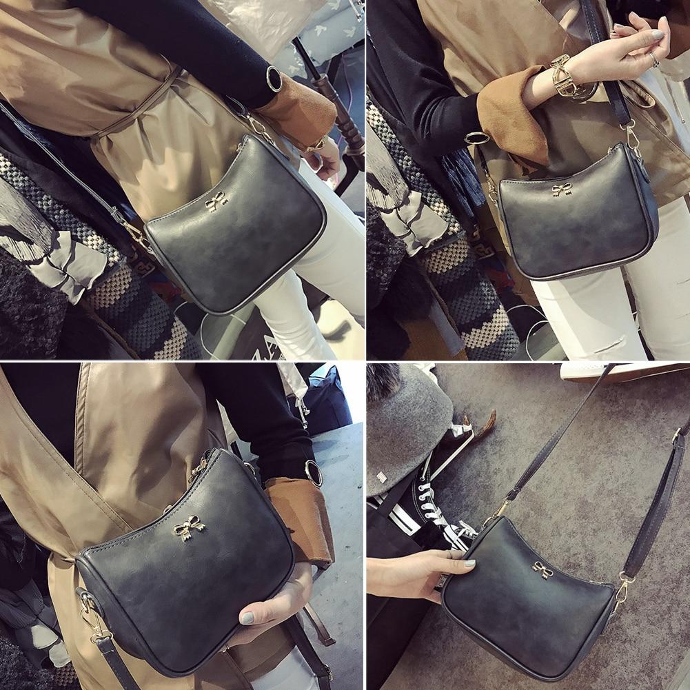 Nuevas Mujeres Bolsas de Mensajero de LA PU Leather Mini Flap Bolso Crossbody Del Hombro Del Bolso de Las Mujeres Del Bowknot Bolsas