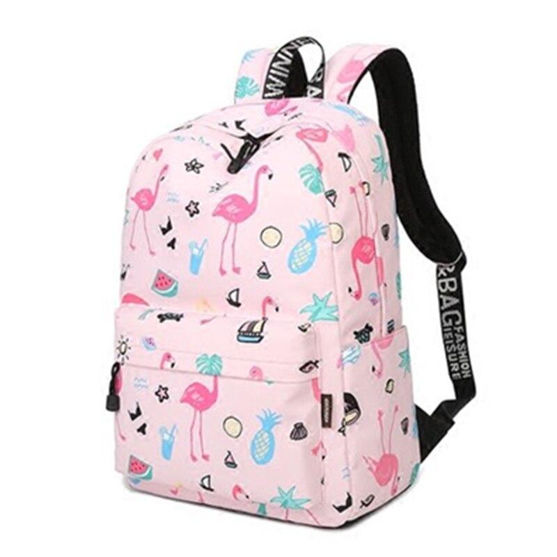 JCPAL модные женские туфли рюкзак Водонепроницаемый милый розовый Фламинго животных печати школьный рюкзак для девочек-подростков рюкзак ... ...