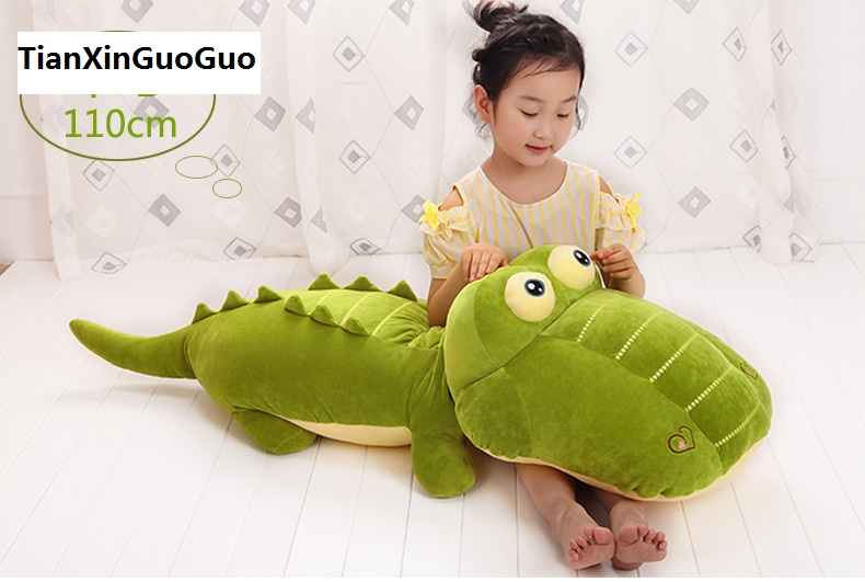 large 110cm green crocodile plush toy soft doll throw pillow Valentine's Day,birthday gift b2721 cute cartoon ladybird plush toy doll soft throw pillow toy birthday gift h2813