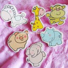 600PCS LOT 6 design zoo animals wood stickers Kids toys scrapbooking kit Early educational DIY Kindergarten