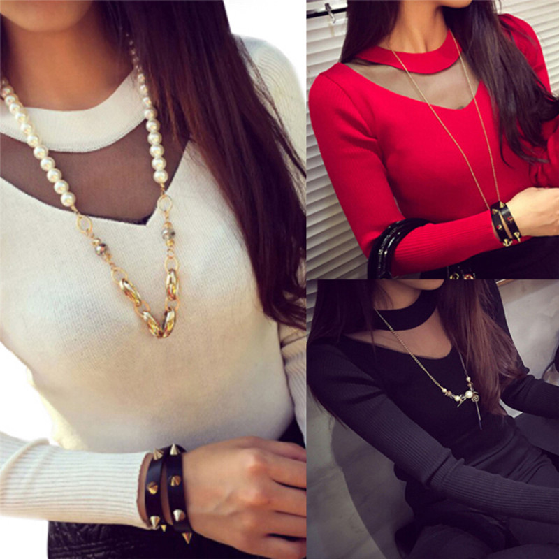 Women Sweaters Pullovers Sexy Long Sleeve Solid Slim Mesh Sheer Splicing Knitwear Shirts Tops O-Neck Sweater