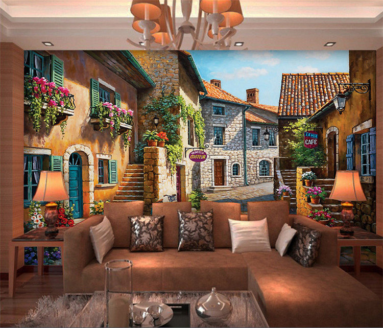 European Small Town Painting Mural Photo Wallpapers Living Room Wall Art Decor Murals Wall Paper Rolls 3d Wallpaper Abstract image