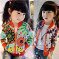 2016 New spring summer baby girl conditioning T-shirt coat floral zip shirt clothing female child spring jacket
