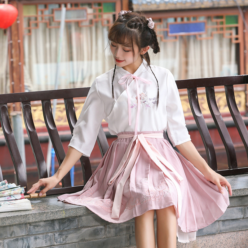 Hanfu Costume Dress Women Improved Hanfu Daily Short Sleeve Hanfu Embroidered Crossdresses Costumes Han Elements Student Set 20