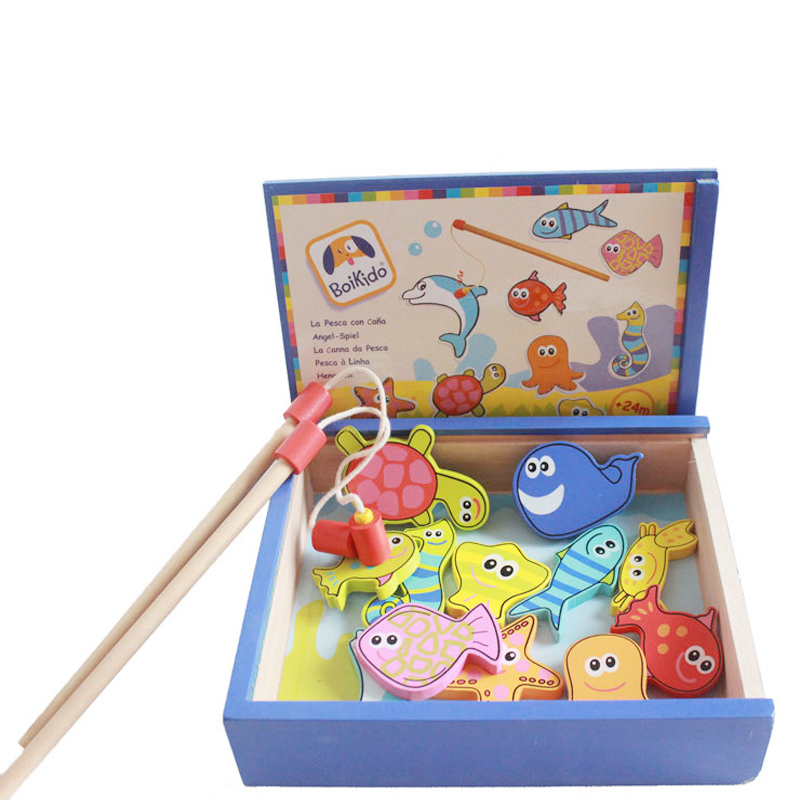 Baby Toys 32pcs Magnetic Fishing Educational Fishing Game Wooden Toys Child Birthday Christmas Gifts MT34