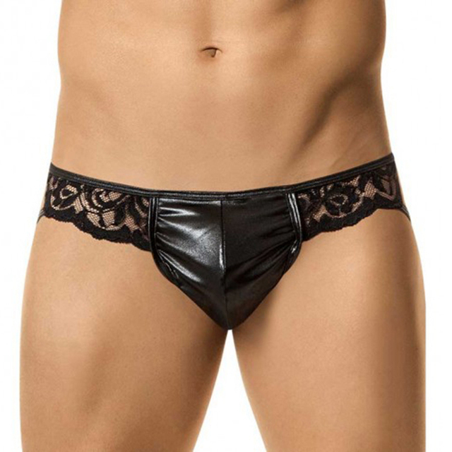 Sexy Black Mens Panties Lace Vinyl Leather Man Hot Exotic Lingerie Briefs Thong Special Clubwear Pouch
